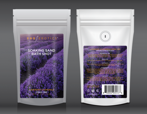 Soaking Sand Bath Shot Lavender Chamomile white stand up pouch with lavender field on label