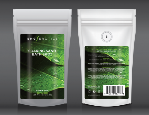 Soaking Sand Bath Shot Petrichor white stand up pouch with green leaf and dew drops on label