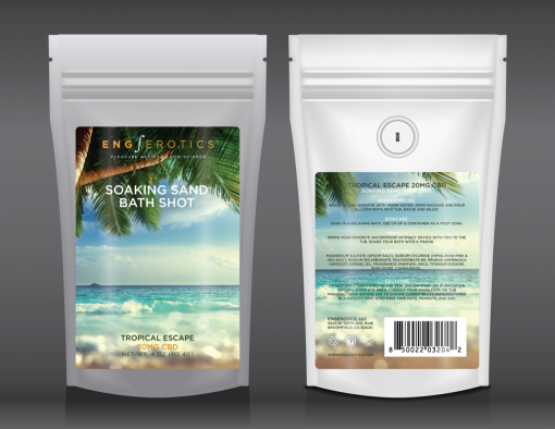 Soaking Sand Bath Shot Tropical Escape white stand up pouch with ocean beach and palm tree on label