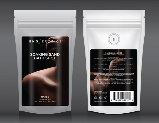 Soaking Sand Bath Shot Naked (Unscented) in a white stand up pouch with tasteful nude black woman on label
